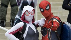 Två maskerade personer utklädda till superhjältar