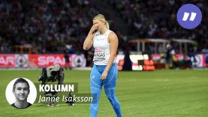 Jenni Kangas med Janne Isakssons kolumnvinjett.