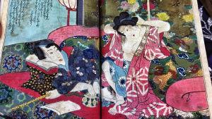 Japanilainen ukiyo-e-tyylisuuntaa edustava painokuva. Kuva sarjasta Kulttuurien juurilla