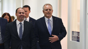Finansminister Scott Morrison (till höger) utsågs något överraskande till Australiens premiärminister efter Malcolm Turnbull som avgick under tryck