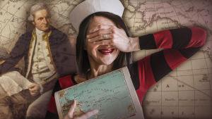Nainen merimieslakki päässään pitää toista kättä silmillään ja toisessa kädessä karttaa. Taustalla James Cook ja maailmankarttaa.