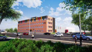 En skiss av hur GreenStar Hotels hotellbyggnad ska se ut vid den norra infarten till Vasa.