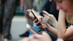 ihmisiä älypuhelimet kädessä