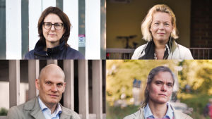 Fyra porträtt ihopklistrade till ett. Tre kvinnor och en man.