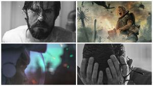 Bildcollage från filmen Tyhjiö, olika bilder på Eero (Tommi Korpela) och Pihla (Laura Birn).