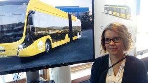 Ruut Haapamäki står vid bilder av en gul superbuss och en gul spårvagn.
