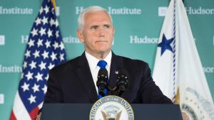 Mike Pence vid den konservativa tankesmedjan Hudson Institute i Washington 4.1.2018.