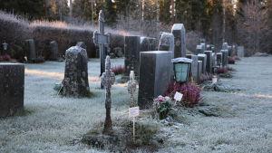 Informationsskyltar placerad på gravar där gravrätten upphört. På Åsändans begravningsplats i Lappfjärd.