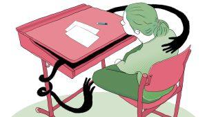 Kuvituskuva: oppilas pulpetissa