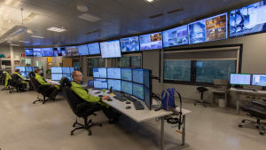 Kontrollrummet vid Metsä-Board i Kaskö