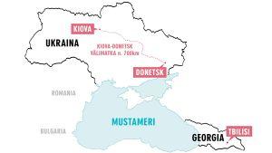 Kartta: Ukraina ja Georgia