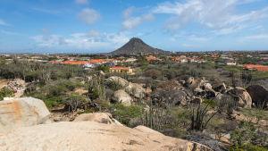 Berget Hooiberg dominerar horisonten på Aruba.