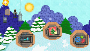 En skärmdump av ett tecknat vinterland.