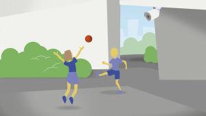 Grafiikka: valvontakamera talon pihalla, jossa lapset pelaavat jalkapalloa.