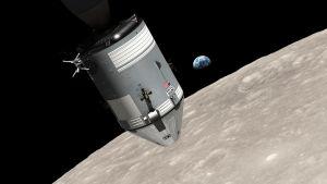 Konstnärens vision av Apollo 8 i omloppsbana runt månen.