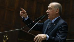 Recep Tayyip Erdogan talar till parlamentet.
