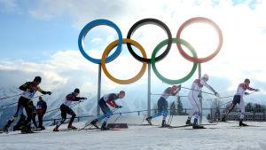 De olympiska ringarna.