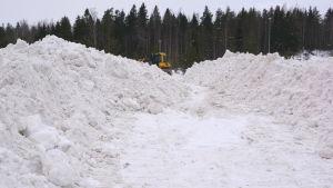 Traktor på snötippen i Borgå.