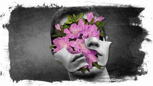 En animerad bild med med ett huvud ur vilket det spricker fram blommor.