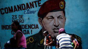 Hugo Chávez på väggmålning i Caracas