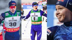 Medaljaspiranterna Ristomatti Hakola, Eero Hirvonen och Kerttu Niskanen är i elden under lagsprintsöndagen.