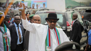 Nigerias president Muhammadu Buhari vid ett valmöte Yenagoa.