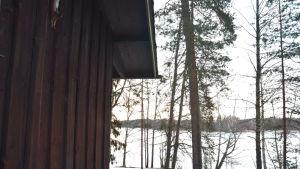 Hörnet av en stuga och i bakgrunden ett vinterlandskap.