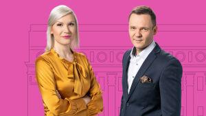 Eduskuntavaalit 2019 teemakeskustelun vetävät Sanna Savikko ja Jyrki Hara.