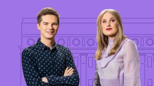 Eduskuntavaalit 2019 nuorten vaalikeskustelun vetävät Rosa Kettumäki ja Matti Riitakorpi.