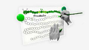 Kuvassa oppilaan kädet värittävät vihreää ympyrää Pro matoon.