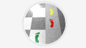 Kuvassa on lattia, johon on liimattu värikkäitä jalan kuvia.
