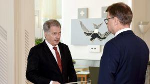 Statsminister Juha Sipilä överräckte regeringens avskedsansökan till president Sauli Niinistö på Talludden den 8 mars 2019. Regeringen beviljades avsked.