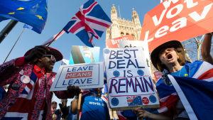 Demonstranter för och emot brexit utanför det brittiska parlamentet.