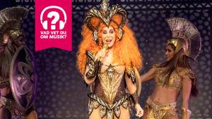 Cher sjunger praktfullt utklädd i en mikrofon.
