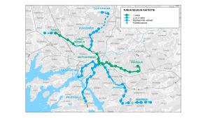 En karta över Åbo spårväg