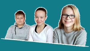 Kuvassa on Lappeen koulun oppilaat Markus, Aino ja Netta