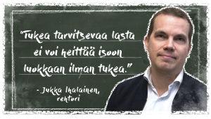 Kuvassa on Vantaan Vierumäen koulun rehtori Jukka Ihalainen liitutaulun edessä. Vieressä teksti: tukea tarvitsevaa lasta ei voi heittää isoon luokkaan ilman tukea.