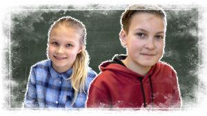 Kuvassa on Oulujoen koulun oppilaat Pipsa ja Aaro liitutaulun edessä.