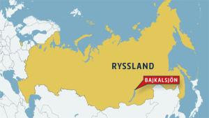 Bajkalsjön ligger i sydöstra Ryssland. Karta på var Bajkalsjön ligger.