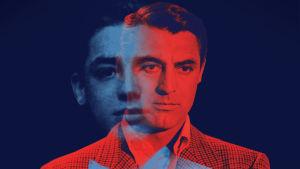Kaksoiskuvassa nuori ja keski-ikäinen Cary Grant. Dokumenttielokuvan Becoming Cary Grant julistekuva, ilman tekstejä.