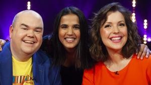 Johan Lindroos, Tika Sevón Liljegren och Eva Frantz analyserar låtarna i det tredje avsnittet av De Eurovisa 2019.