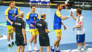 Finlands lagkapten Miro Koljonen tackar sina bosniska motståndare efter EM-kvalmatchen våren 2019.