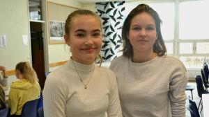 två flickor i matsal