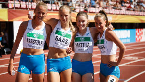 Wilma Lassfolkd, Mette Baas, Nea Mattila och Viivi Lehikoinen vid U20 VM i Tammerfors 2018.