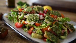 Herkullisen näköinen salaatti lautasella lähikuvassa.