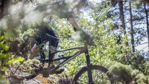 En man på terrängcykel på en smal skogsstig.