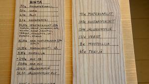 text på träplattor
