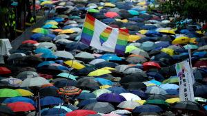 Demonstration för samkönade äktenskap i Taiwan.