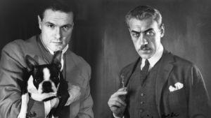 Vasemmalla nuori Ruben stiller koira sylissään. Oikealla puolella Mauritz Stiller.