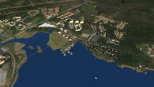 På bilden syns en skiss över hur bostadsområdet Drottningstranden kan se ut. Till vänster finns en stor aktivitetshall, i mitten ett grönområde och till höger bostäder.